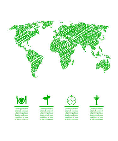 green eco map with special sketch design Illustration