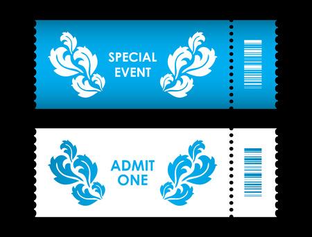 admit: admit one ticket with special flower design Illustration