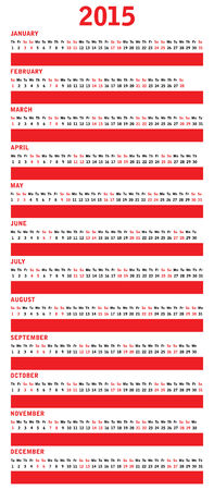 special red calendar for 2015 Vector