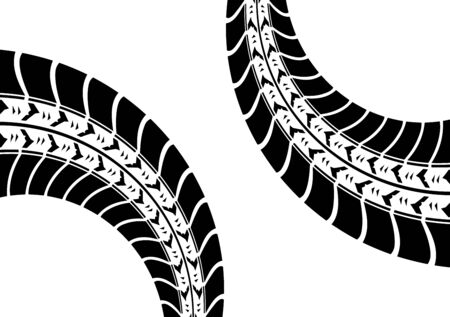 white background with black tire track Vector