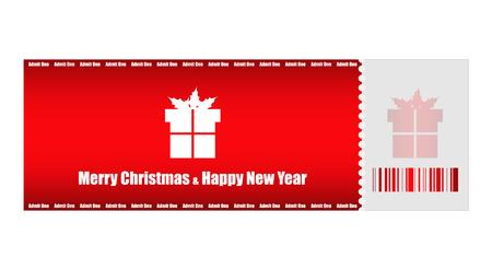 christmas movies: admit one Christmas ticket Illustration