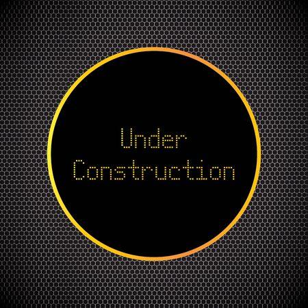construction background: under construction background with chrome metal grid design, vector illustration