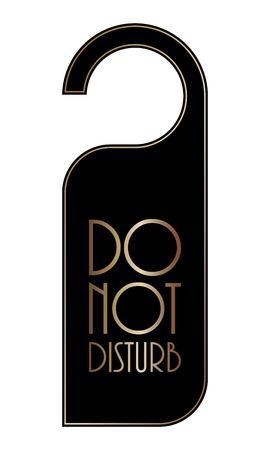 hotel rooms: do not disturb door hanger, special black-gold design Illustration