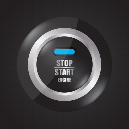 Special stop-start engine button illustration.
