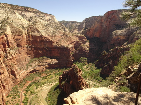 Top of Angels Landing Trail - View over Zion National Park, Utah, USA