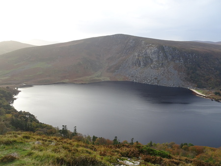 Lough Tay - Guinness Lake in the Wicklow Mountains near Dublin in Ireland Stock Photo