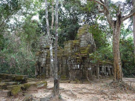 カンボジア、シェムリアップのタ・プロム寺院の古代遺跡