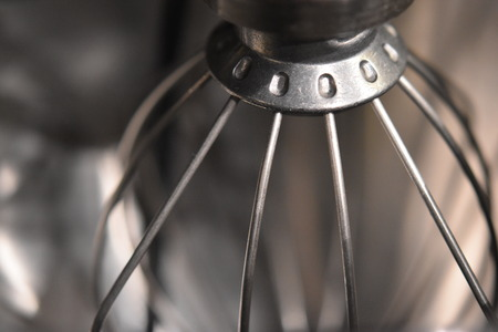 Closeup of a silver whisk