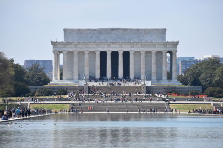 Famous Lincoln Memorial on the Lincoln Memorial Reflecting Pool in USA Stock Photo