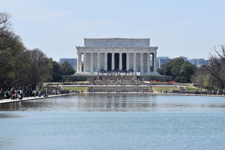 Famous Lincoln Memorial on the Lincoln Memorial Reflecting Pool in USA Editorial