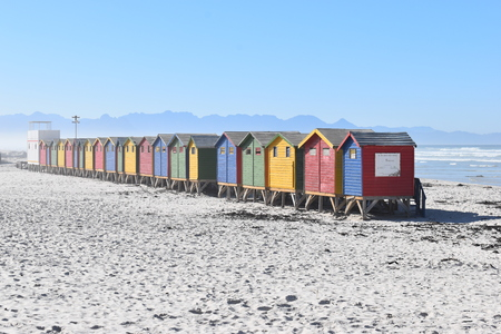 Colorful bathing cabins on the beach in Muizenberg in Cape Town, South Africa Standard-Bild