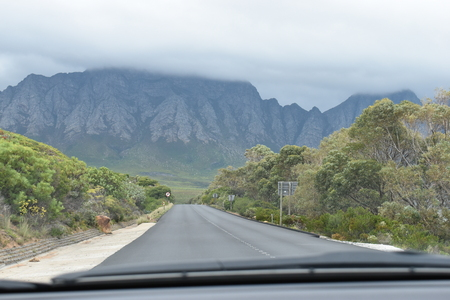 Panorama road with beautiful high mountains from Cape Town to Hermanus, South Africa Stock Photo