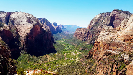 View from Angels Landing Trail at Zion National Park in Utah, USA Imagens