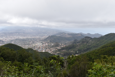 Viewpoint Mirador del Pico del Ingles at Cruz del Carmen at the Anaga mountains in Tenerife near Santa Cruz Stock Photo
