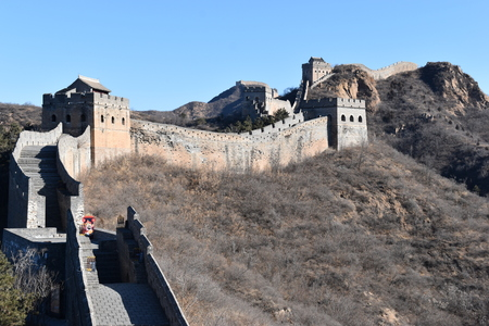 Panorama of the Great Wall at Jinshanling in winter near Beijing in China