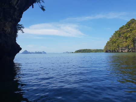 Wonderful mountainous landscape at a kayaking trip in the mangrove forest at Ao Thalaine at Krabi in Thailand, Asia 版權商用圖片