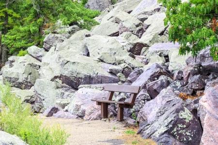 Wooden bench near lichen-covered rocks