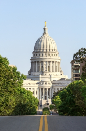 West side view of Wisconsin State Capitol in Madison