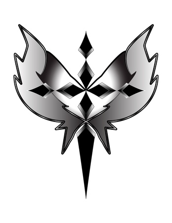 christian cross and wings: grayscale cross with wings