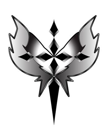 grijstinten kruis met vleugels Stockfoto