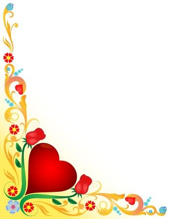 Rood hart met gouden bloemen versierde Stockfoto - 16833849