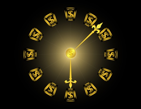 a golden clock with dollar symbols on a black background