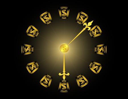 een gouden klok met dollar symbolen op een zwarte achtergrond