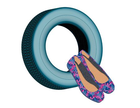 stylish womens shoes on a blue tire