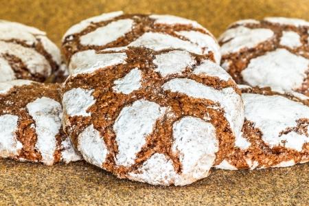 crinkles: homemade cookies chocolate crinkles Stock Photo