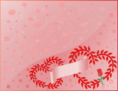 Valentine s day illustration with two hearts on ornate background Stock Photo