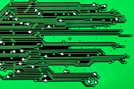 Close up of a green circuit board background
