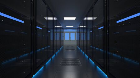 Network and data servers. Computer farm