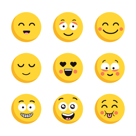 Set of happy yellow emoticons. Funny cartoon flat faces isolated on white background. Illustration