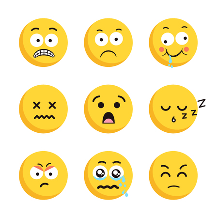 Set of sad smiling emoticon faces. Illustration