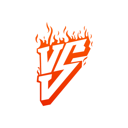Versus with fire frames and vs letters. Flaming VS for duel and confrontation. Flat illustration isolated on white background
