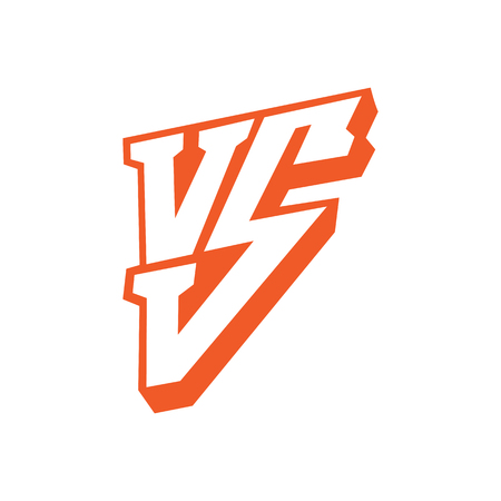 Versus letters logo. Red letters V and S flat style symbol isolated on white background