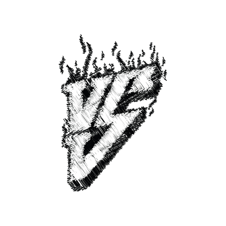 Versus logo hand lettering. Symbol competition vs with fire illustration. Illustration