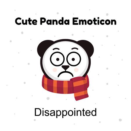 baffled: Panda sad Emoji. Chinese bear sadness or disappointed emotion isolated