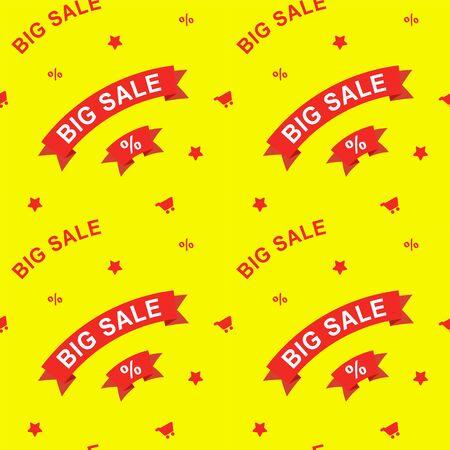 Big sale and discounts seamless pattern. Flat vector illustration for design Illustration