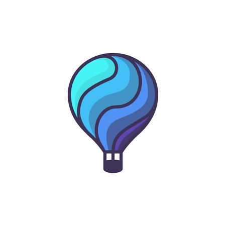 Heißluftballon-Logo. Karikaturillustration der Heißluft baloon Vektorikone für Webdesign oder Logoschablone