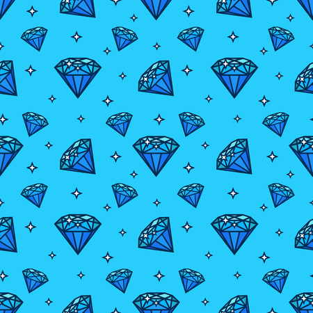 jewerly: Vector seamless pattern with gem and diamond icons. Texture and design element with jewerly flat icon