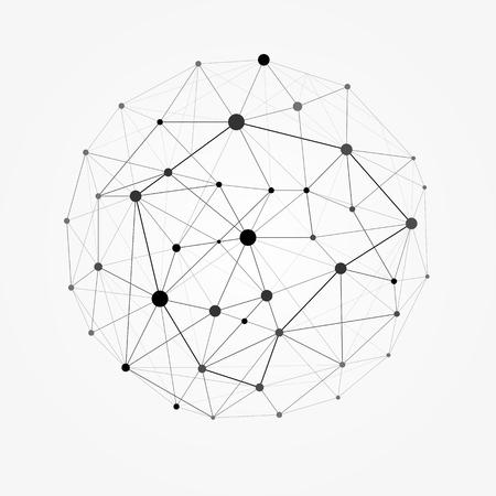 Model szkieletowy 3D siatki wielokątne sfery wektorowej. Linia sieci, sfera projektu, kropka i ilustracja struktury