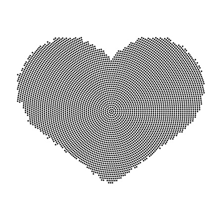 heart tone: Heart symbol with a dot pattern. Vector icon isolated on white background Illustration
