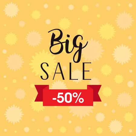 Stylish big sale flyer. Sale banner. Sale background with flowers. Discount upto 50 percent off. Creative sale vector illustration with colorful flowers.