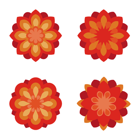 daisy pink: Flat flowers. Icon set. Red flower symbols illustration