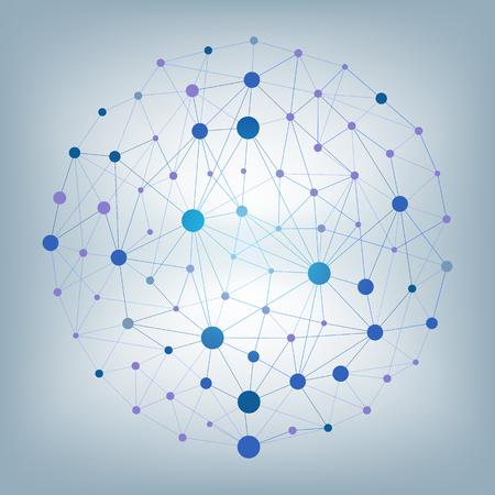 Particelle e linee vettoriali astratti. Effetto plesso. Illustrazione vettoriale futuristico Vettoriali