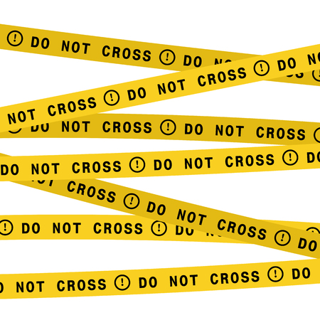 Police line do not cross tape. Vector flat style design illustration.