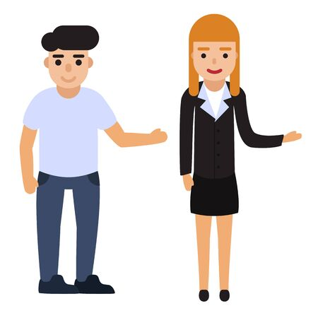 Set of people point to something. Flat man and woman vector illustration.