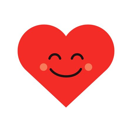 Cute heart emoji. Smiling face icon Illustration