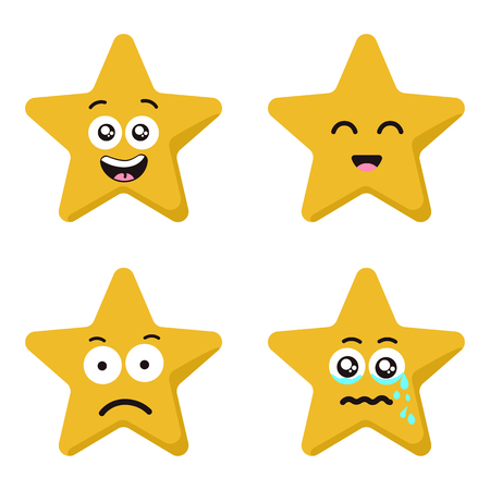 Funny cartoon star character emotions set isolated on white